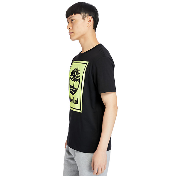 Stack Logo T-Shirt for Men in Black/Yellow-