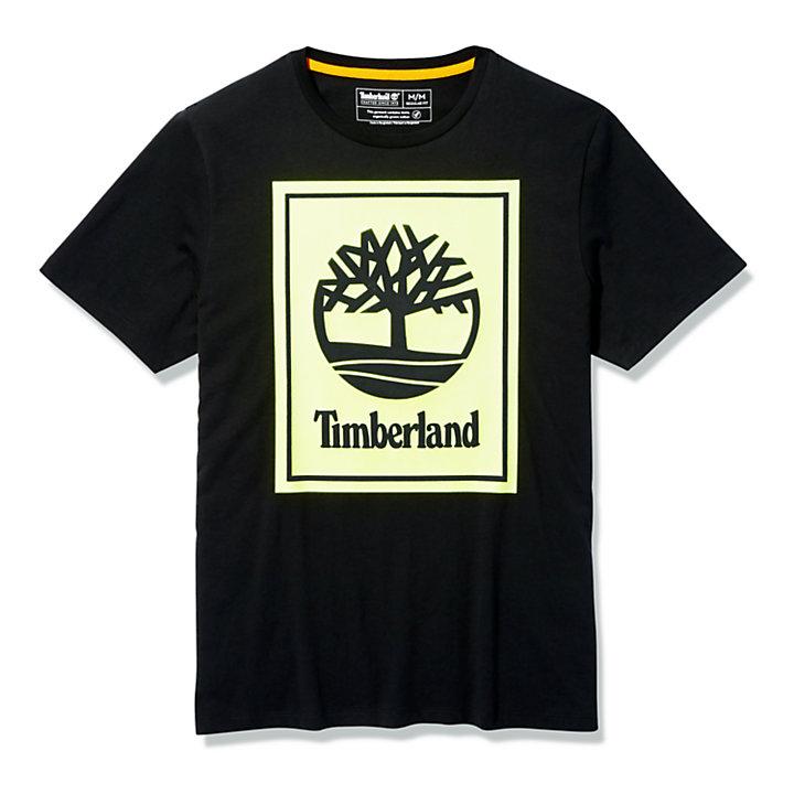 T-shirt à logo Stack pour homme en noir/jaune-
