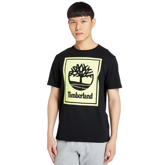 Stack Logo T-Shirt for Men in Black/Yellow | Timberland