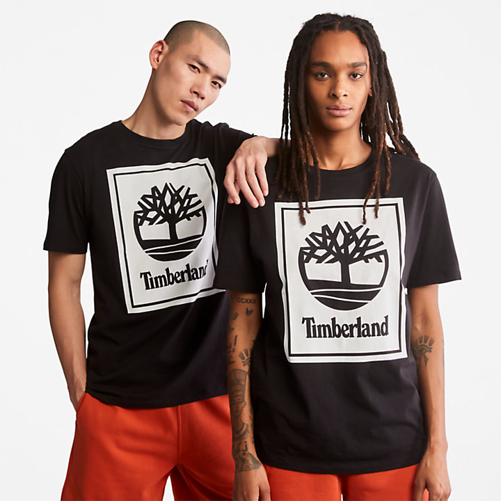 Stack Logo T-Shirt for Men in Black/White-