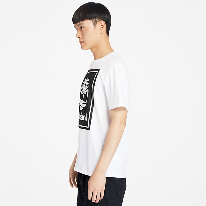Stack Logo T-Shirt for Men in White-