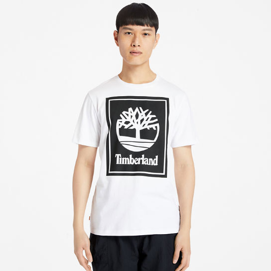 Stack Logo T-Shirt for Men in White | Timberland