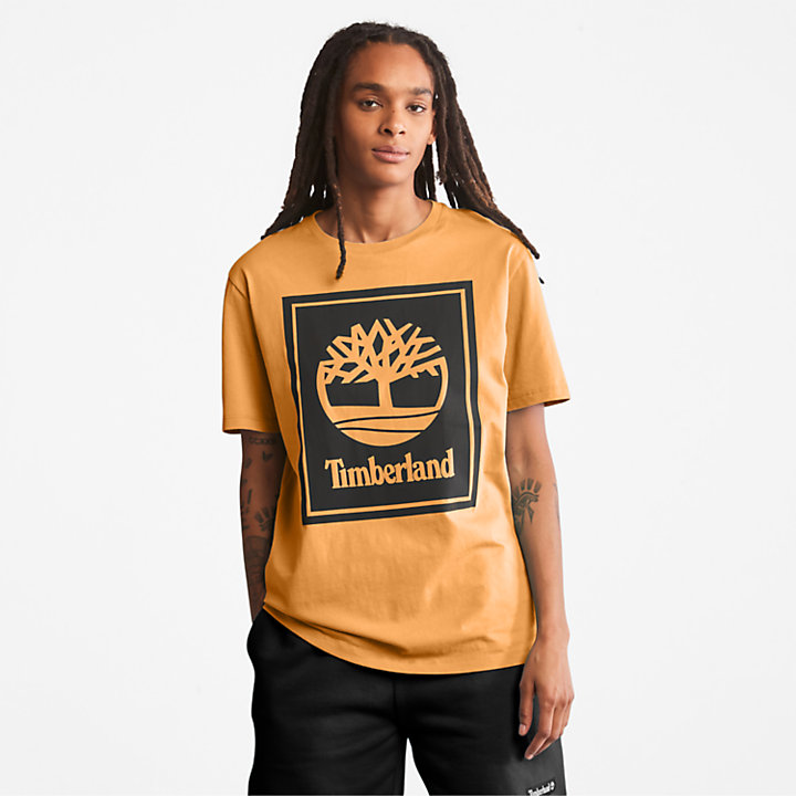 Stack Logo T-Shirt for Men in Orange/Black-