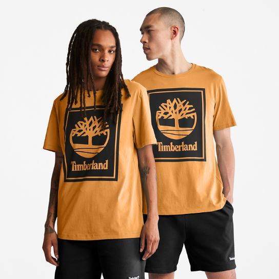 Stack Logo T-Shirt for Men in Orange/Black | Timberland