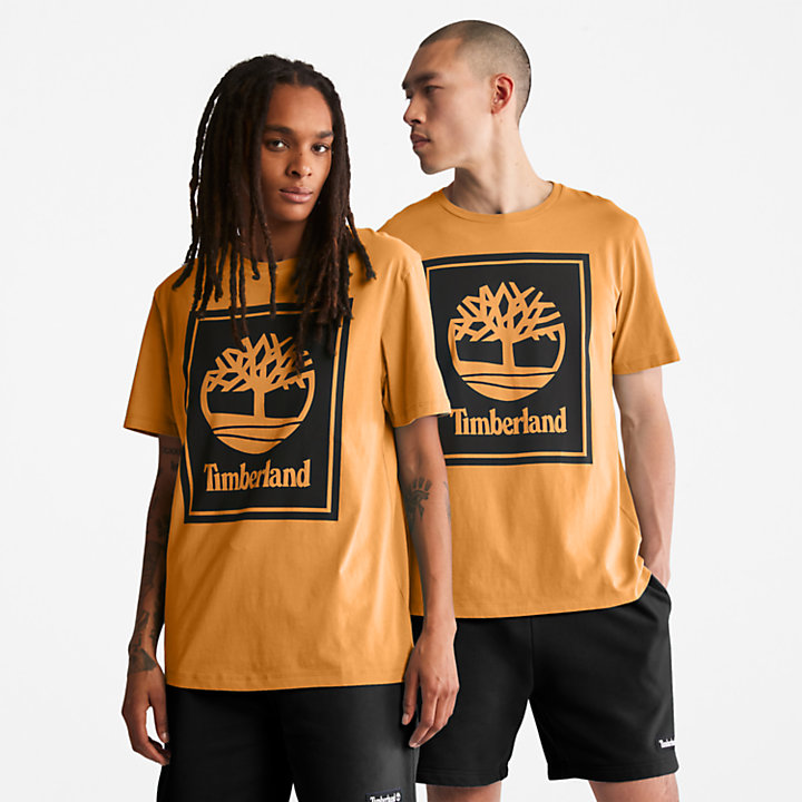 Stack Logo T-Shirt for Men in Yellow-
