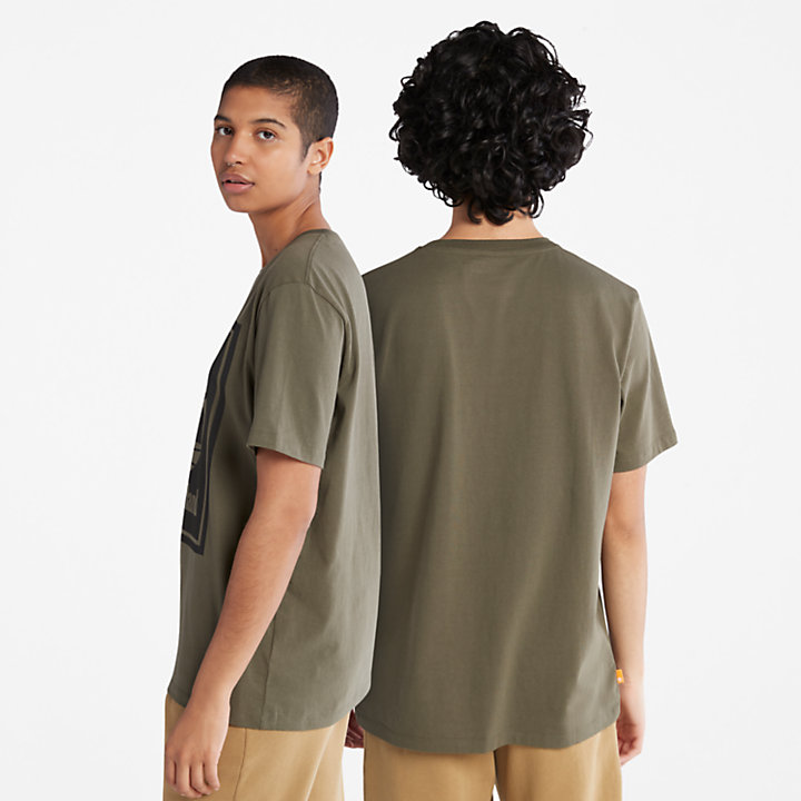Stack Logo T-Shirt for Men in Green-