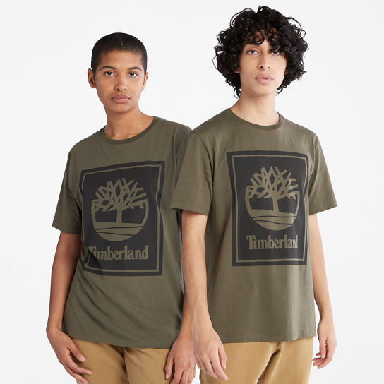 Stack Logo T-Shirt for Men in Green | Timberland
