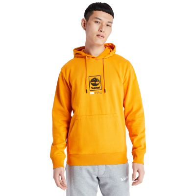 Sweat+%C3%A0+capuche+%C3%A0+logo+arbre+pour+homme+en+orange