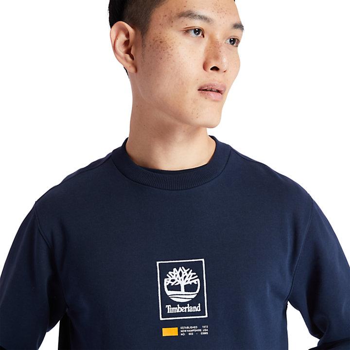 Sudadera Larga de Cuello Redondo Tree Logo para Hombre en azul marino-