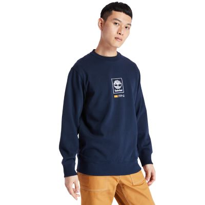 Tree+Logo+Long+Crew+Sweatshirt+voor+Heren+in+marineblauw