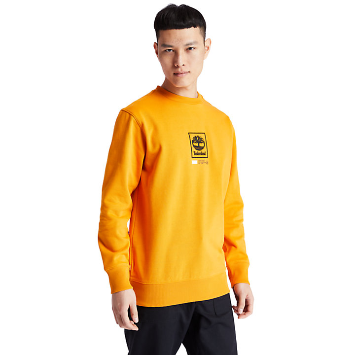 Tree Logo Long Crew Sweatshirt voor Heren in oranje-
