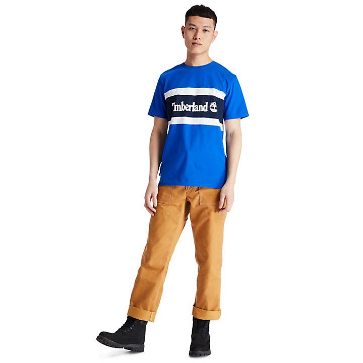 T-shirt da Uomo con Logo a Blocchi di Colore in blu-