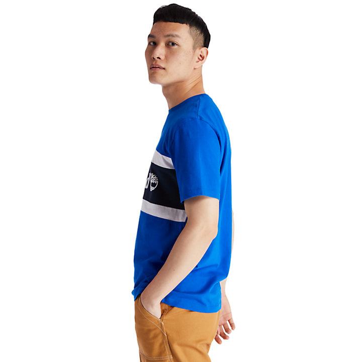 Camiseta de Bloques de Color con Logotipo para Hombre en azul-
