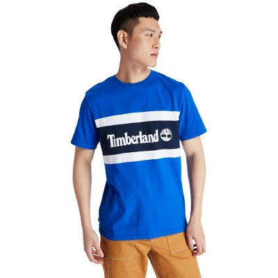 Colourblock+Logo+T-Shirt+for+Men+in+Blue