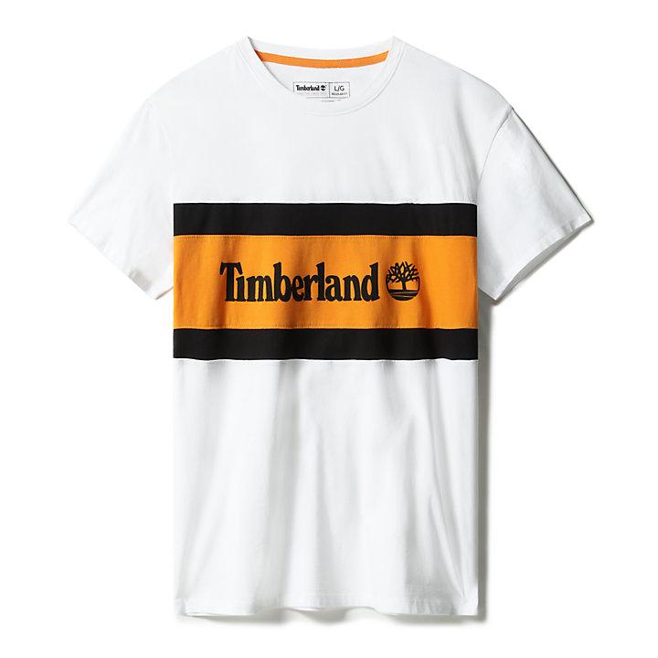 Colourblock Logo T-Shirt for Men in White-