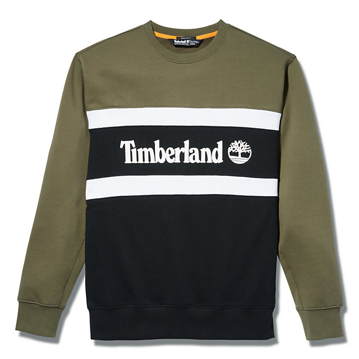 Cut and Sew Sweatshirt for Men in Green-