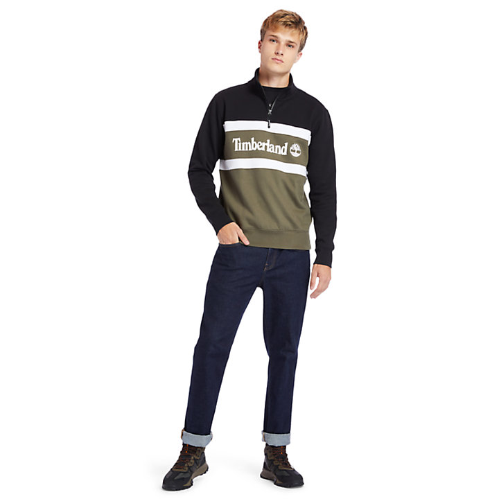 Funnel-neck Sweatshirt for Men in Green-