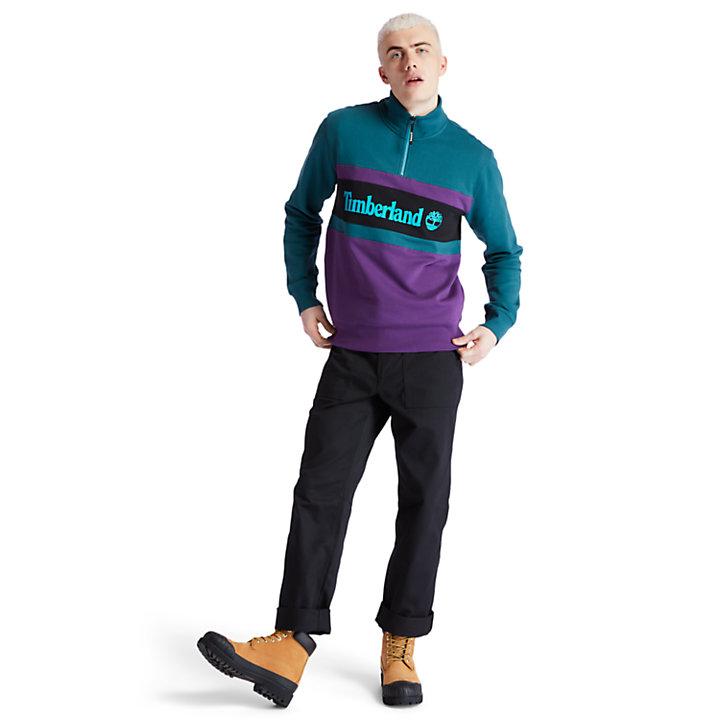Funnel-neck Sweatshirt for Men in Teal-
