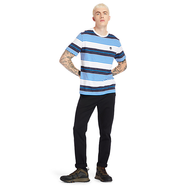Wild Ammonoosuc River Striped T-Shirt for Men in Blue-