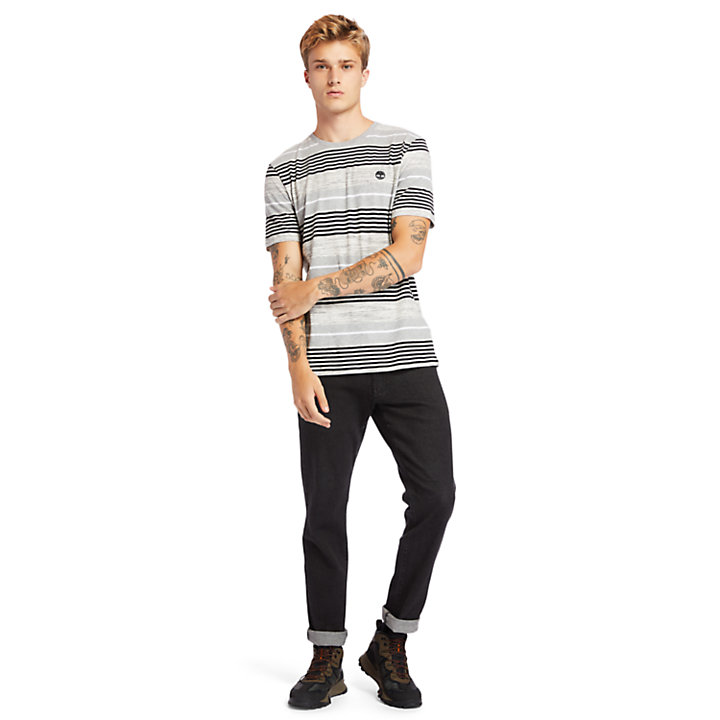 Wild Ammonoosuc River Striped T-Shirt for Men in Grey-