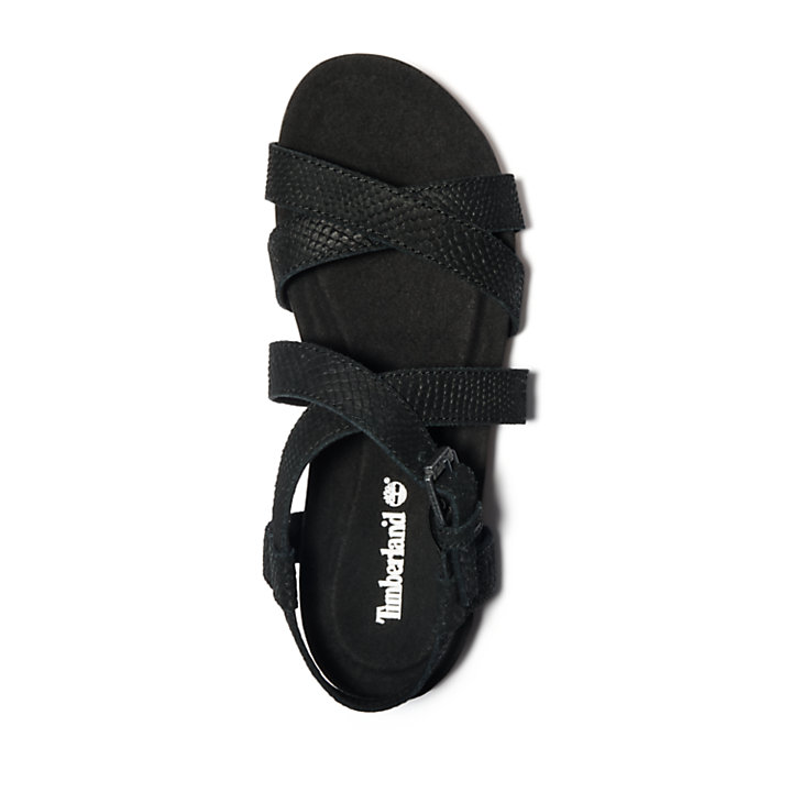 Malibu Waves Ankle Strap Sandal for Women in Monochrome Black-