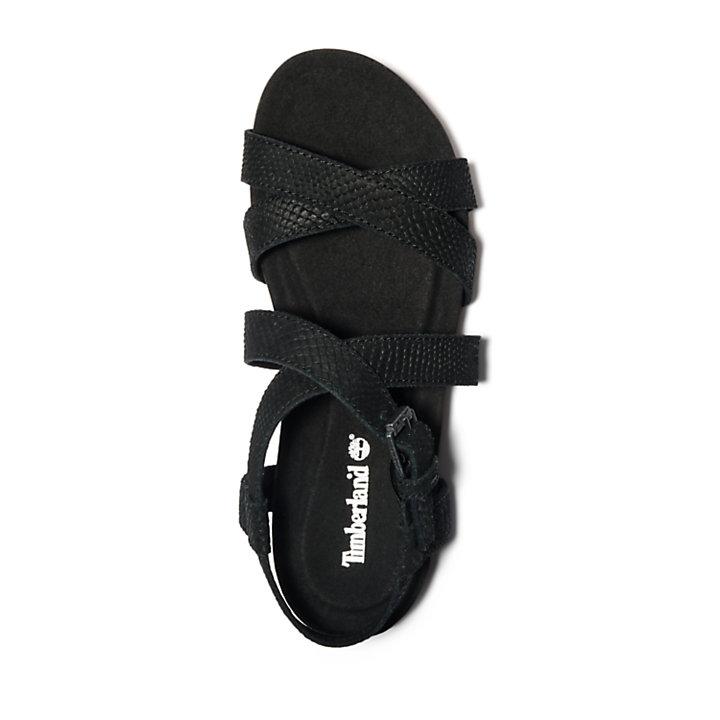 Sandalia con Tira en el Tobillo Malibu Waves para Mujer en color negro monocromático-