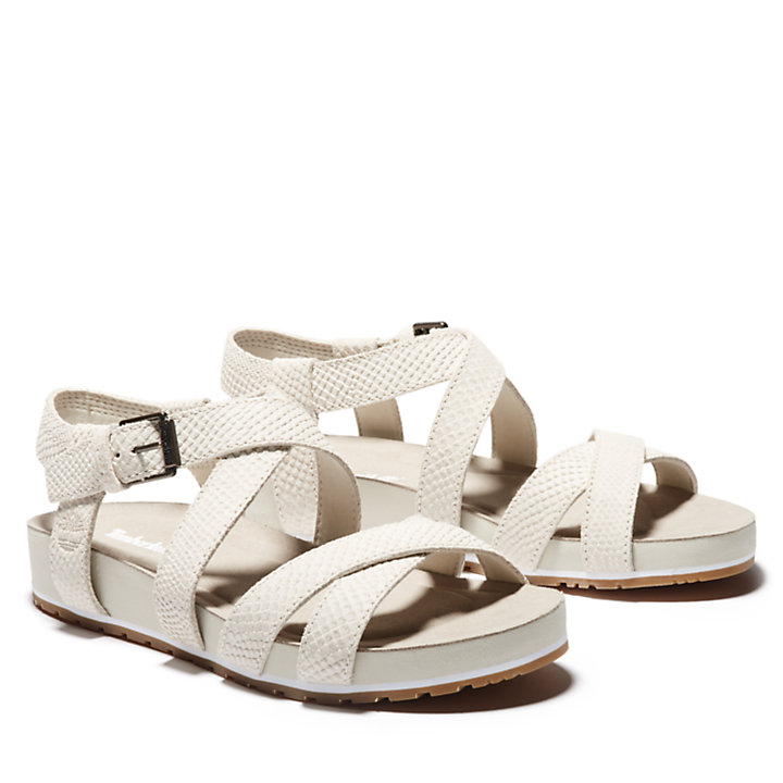 Malibu Waves Ankle Strap Sandal for Women in White-
