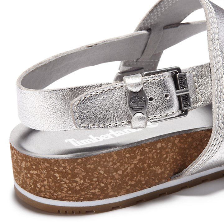 Malibu Waves Toe Post Sandal for Women in Silver-