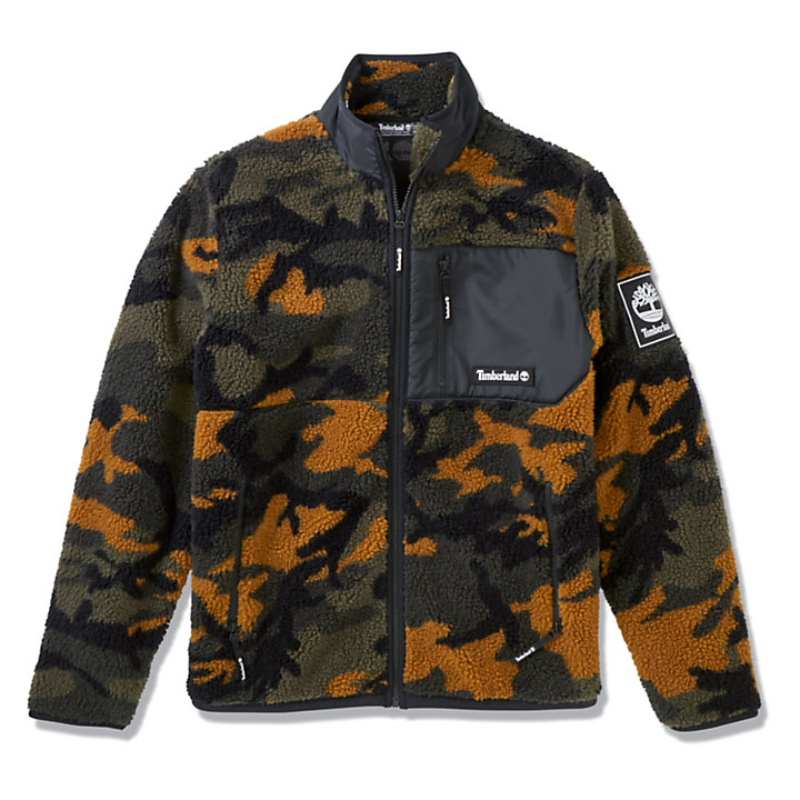 Camo Recycled Fleece Jacket for Men in Green-