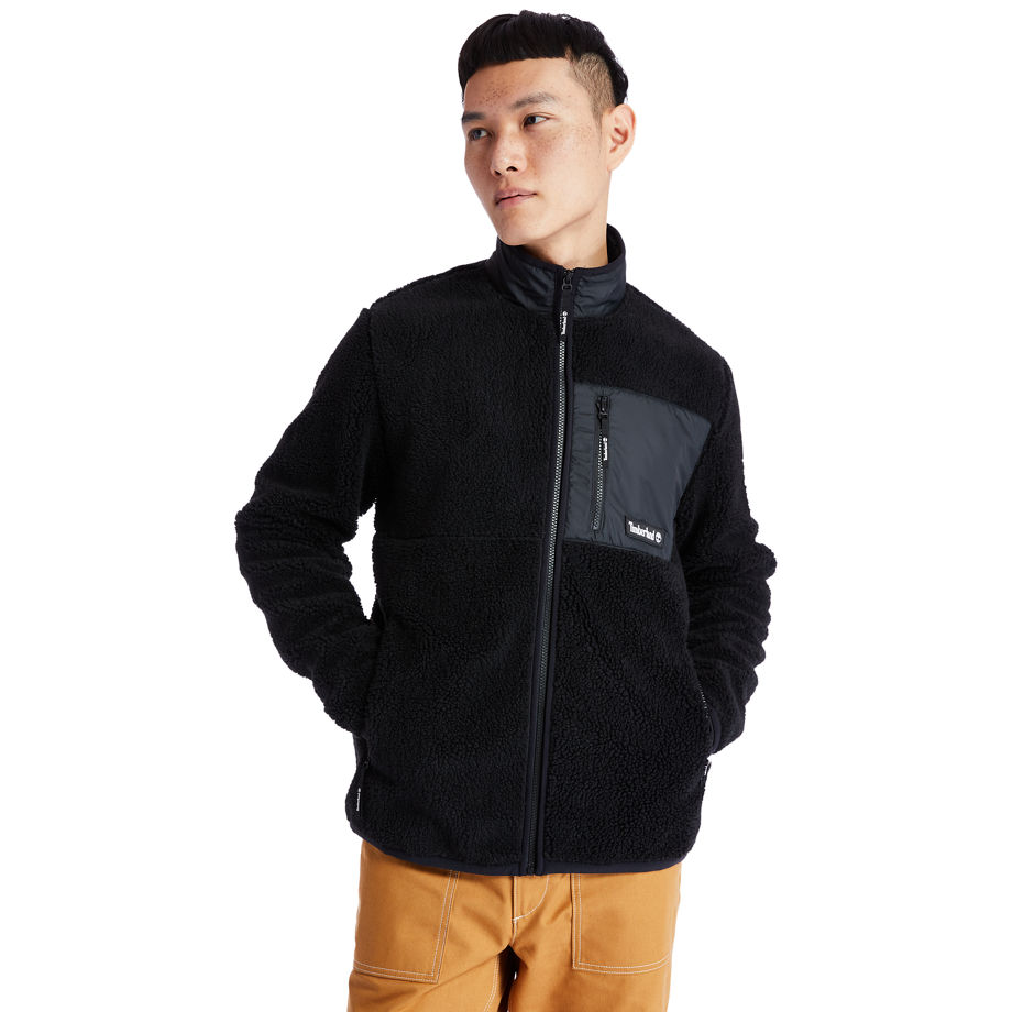 Timberland Colour-block Recycled Fleece Jacket For Men In Black Black, Size S