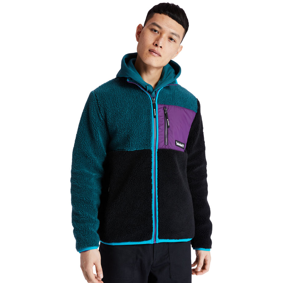Timberland Colour-block Recycled Fleece Jacket For Men In Teal Teal, Size XL