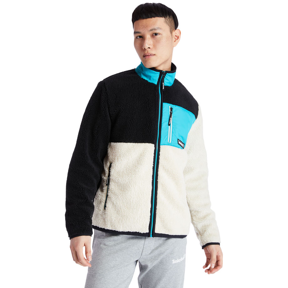 Timberland Colour-block Recycled Fleece Jacket For Men In Black/white Beige, Size XXL