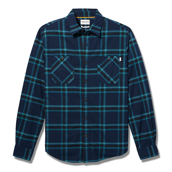 Nashua River Heavy Flannel Check Shirt for Men in Blue-
