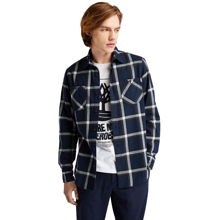 Timberland Nashua River Heavy-flannel Checked Shirt For Men In Light Blue Light Blue, Size XL
