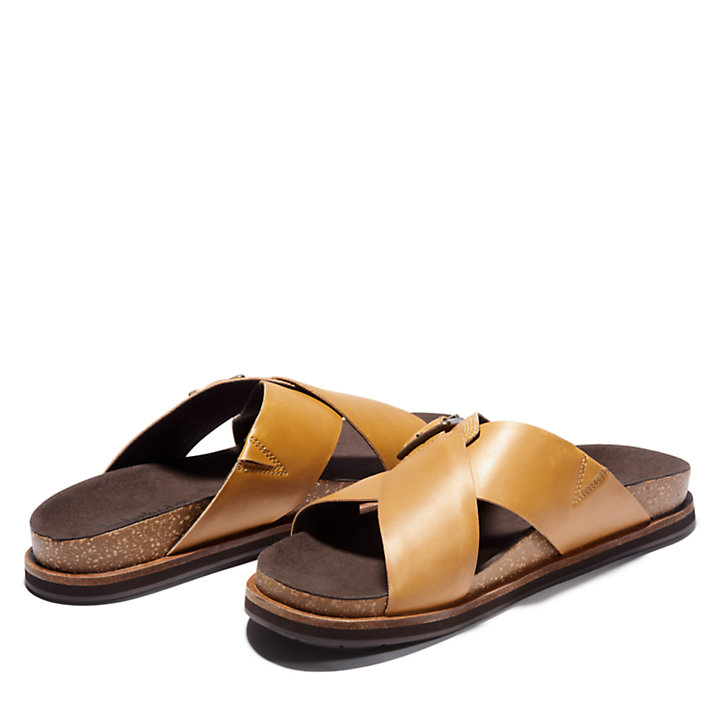 Amalfi Vibes Cross Slide Sandal for Men in Yellow-