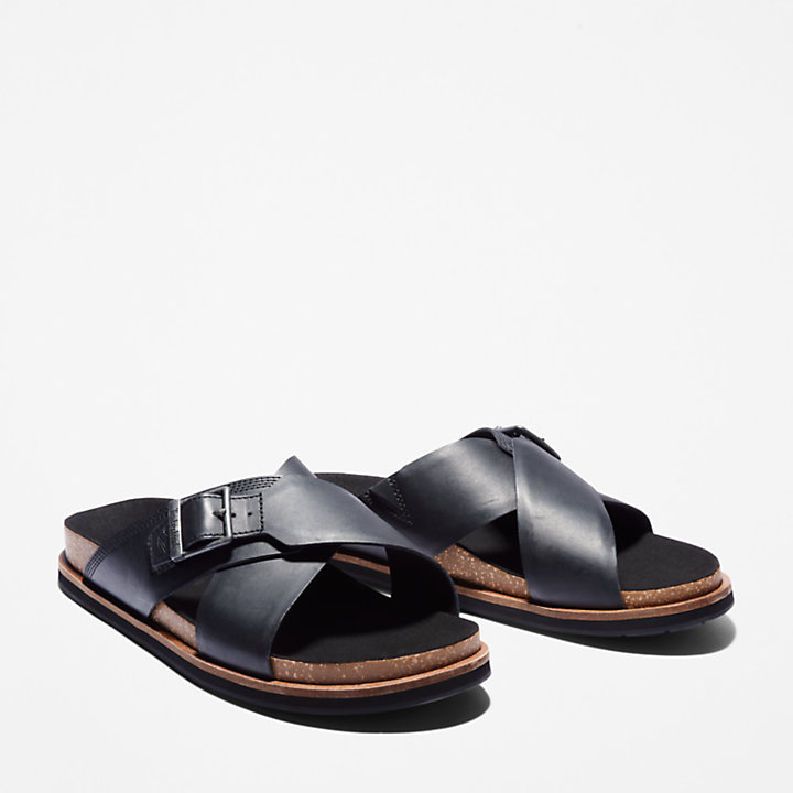 Amalfi Vibes Cross Slide Sandal for Men in Black-