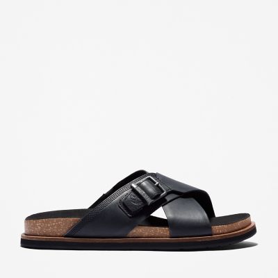 Amalfi+Vibes+Cross+Slide+Sandal+for+Men+in+Black