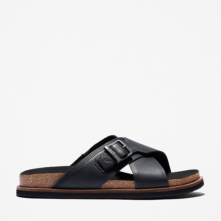 Amalfi Vibes Cross Slide Sandal for Men in Black-