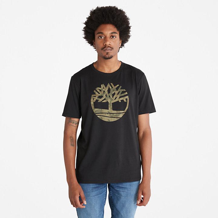 T-shirt logo arbre camouflage pour homme en noir-