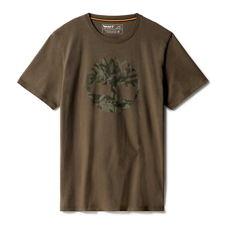 Camo Tree Logo T-shirt voor Heren in groen-