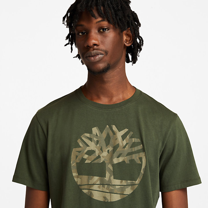 T-shirt camouflage avec logo pour homme en vert foncé-