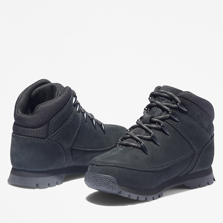 Euro Sprint Mid Hiker for Youth in Black Nubuck-