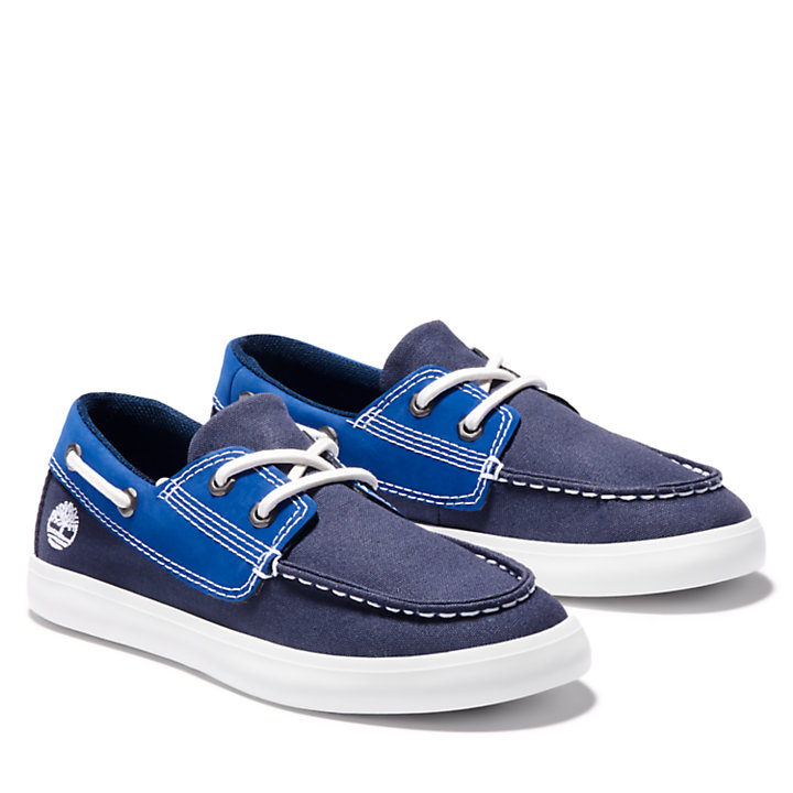 Newport Bay Boat Shoe for Youth in Navy-
