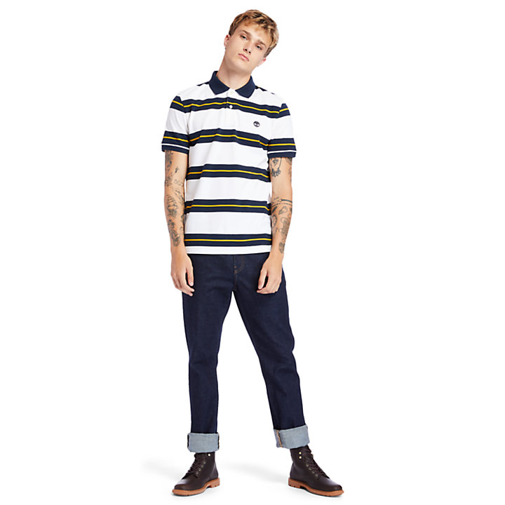 Millers River Striped Polo Shirt for Men in Navy-