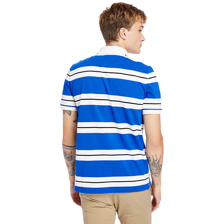 Millers River Striped Polo Shirt for Men in Blue-