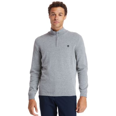 Cohas+Brook+Zip-neck+sweater+voor+heren+in+grijs