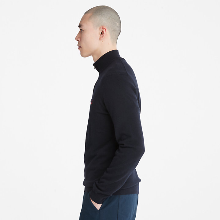 Jersey con Cuello de Cremallera Cohas Brook para Hombre en azul marino-
