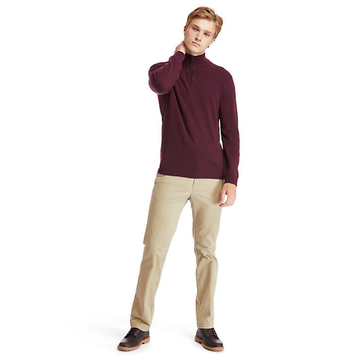 Cohas Brook Zip-neck Sweater for Men in Burgundy-