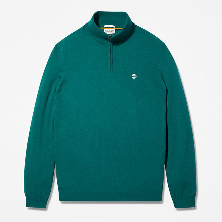 Pull à col zippé Cohas Brook pour homme en vert-