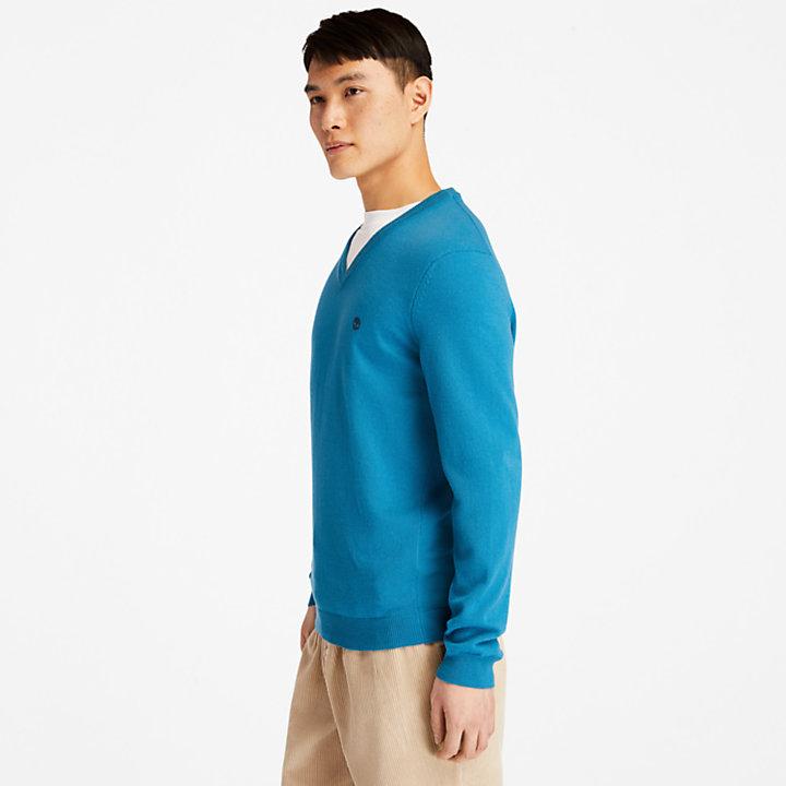 Pull à col V Cohas Brook pour homme en bleu-